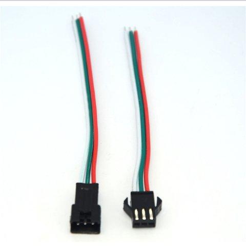 З'єднувальний кабель 3-контактний JST для світлодіодних стрічок WS2811, WS2812, male+female-роз'єм Прев'ю 1